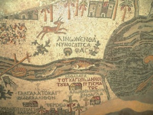 Part of the ancient Madaba Map showing two possible locations of Jesus' baptism